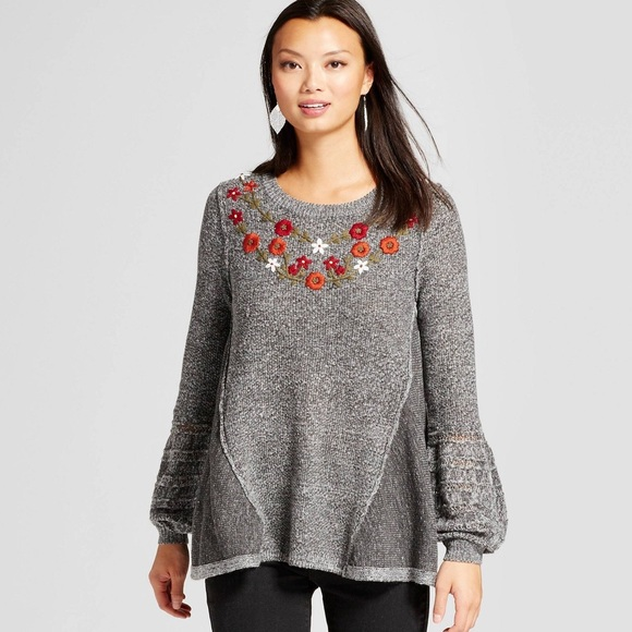 Knox Rose gray floral balloon sleeve sweater (M)